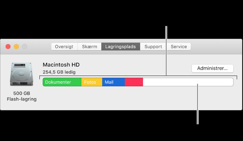 Flyt markøren over en farve for at se, hvor megen plads hver kategori bruger. Et hvidt område repræsenterer ledig lagringsplads.