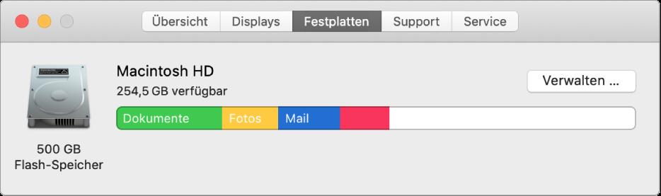 """Der Bereich """"Festplatten"""" der Systeminformationen mit einer grafischen Darstellung der Speicherbelegung"""