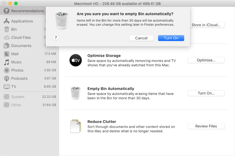 """The """"Are you sure you want to erase Trash automatically"""" dialogue in the Storage Recommendations window."""