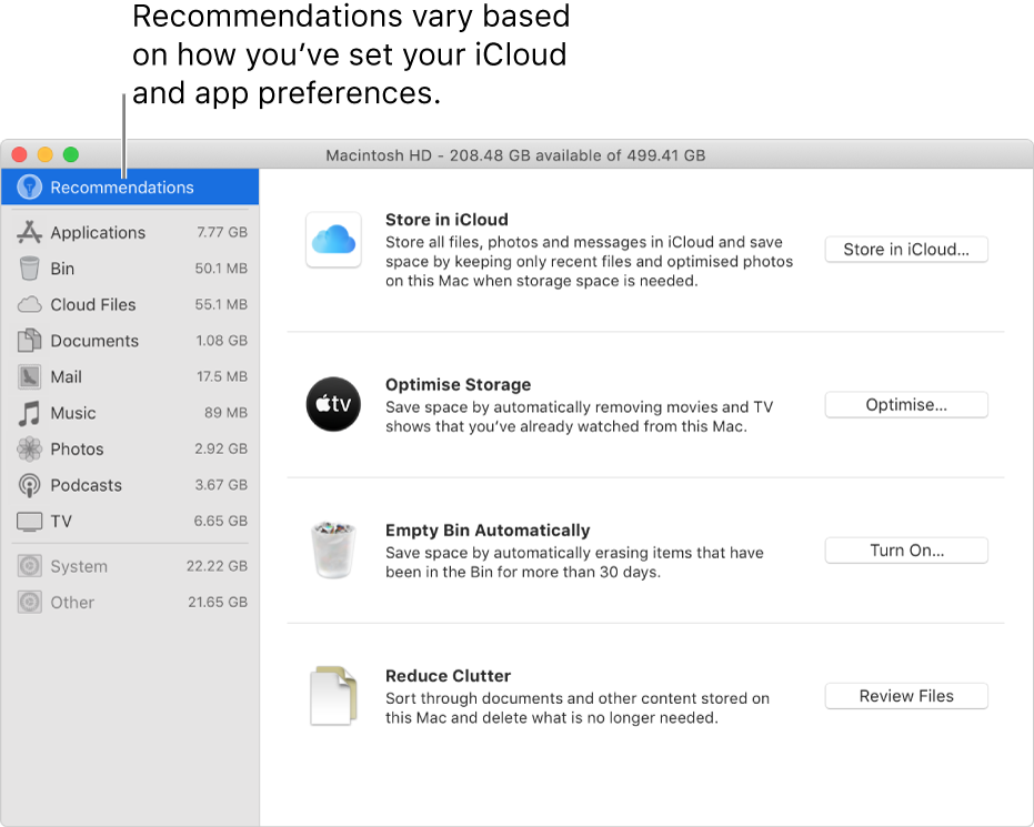 Optimise storage recommendations in the Storage pane.