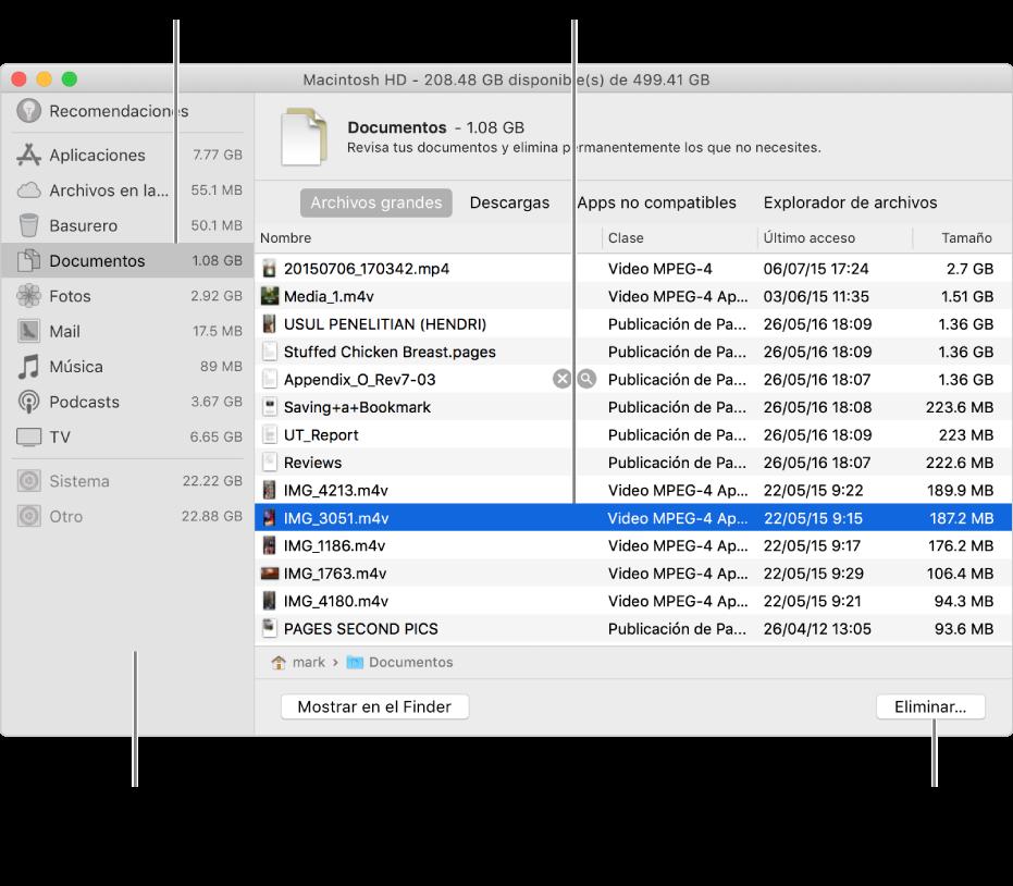 Explora las categorías de archivos para ver cuánto espacio se está usando, buscar archivos y eliminar los archivos que ya no necesites.