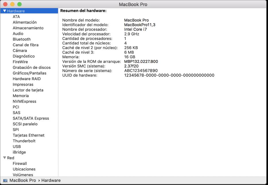 La sección de especificaciones de hardware de un reporte del sistema.