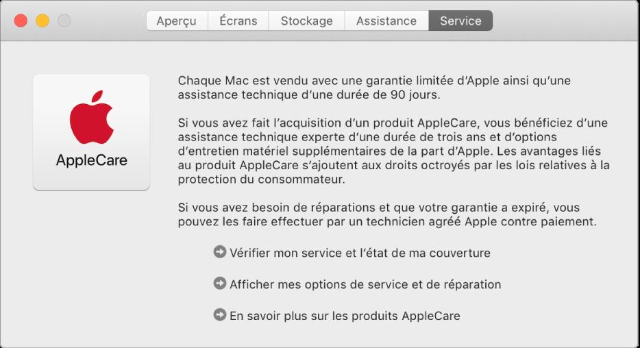 La sous-fenêtre Service d'Informations système, affichant les options de service AppleCare.