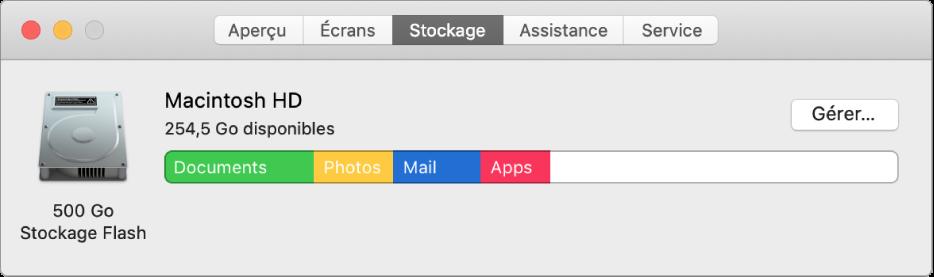 La sous-fenêtre Stockage d'Informations système, affichant une représentation graphique de votre stockage.