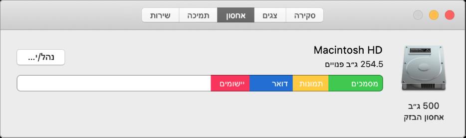 החלונית ״אחסון״ ב״נתוני המערכת״, מראה ייצוג גרפי של שטח האחסון.