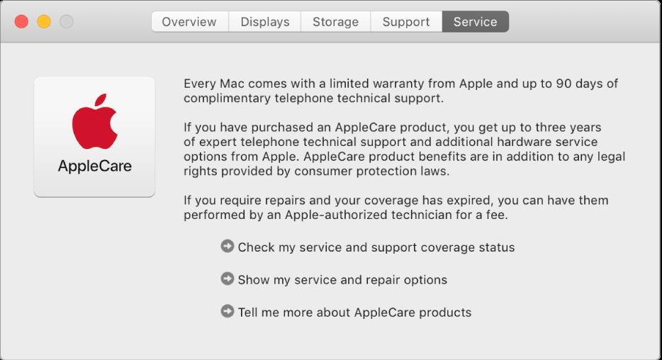 Het paneel 'Service' in Systeeminformatie, met de serviceopties van AppleCare.