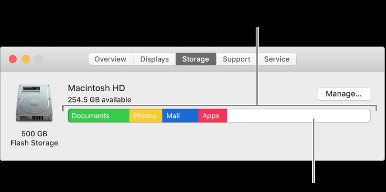 Flytt markøren over en farge for å se hvor mye plass hver kategori bruker. Hvitt betyr ledig lagringsplass.