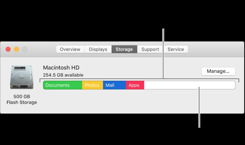 Di chuyển con trỏ qua màu để xem mức dung lượng mà mỗi danh mục sử dụng. Khoảng trắng biểu thị dung lượng lưu trữ trống.