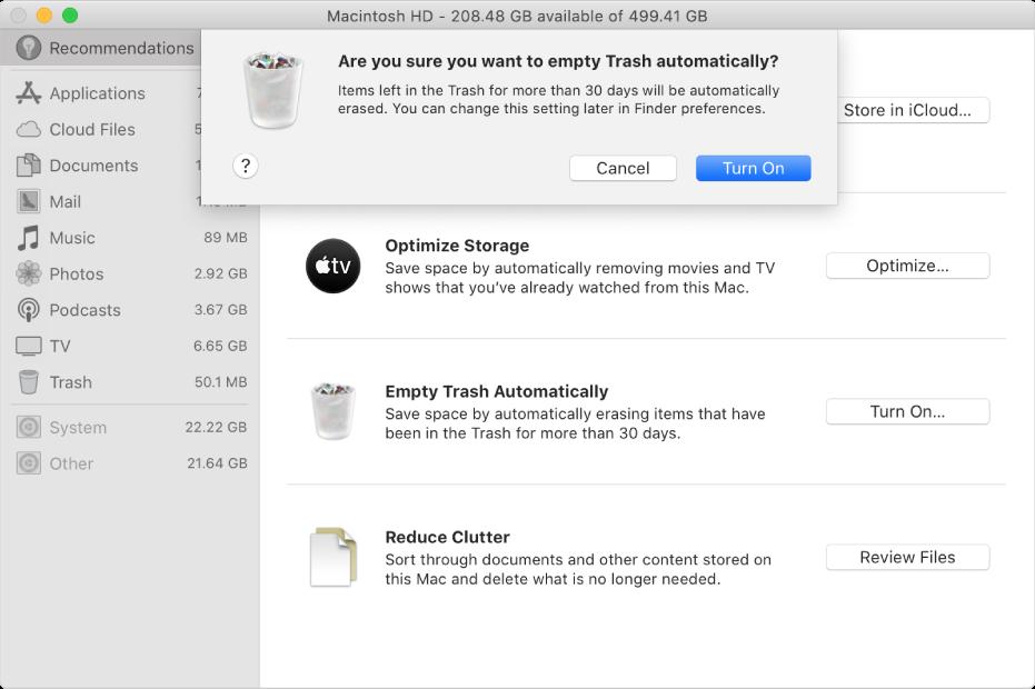 """储存空间""""推荐""""窗口中的""""您确定要自动抹掉废纸篓吗""""对话框。"""