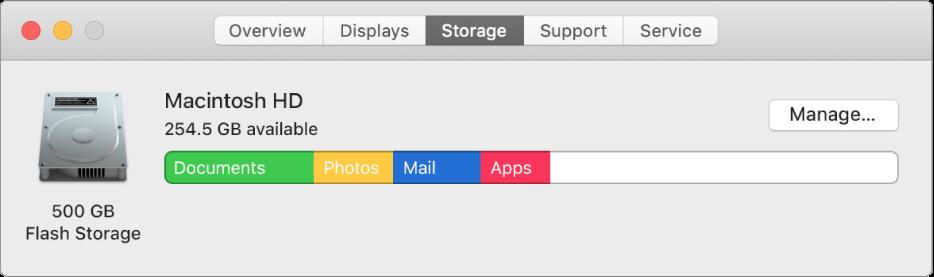 """""""系统信息""""中的""""储存空间""""面板,以图形方式显示储存空间。"""