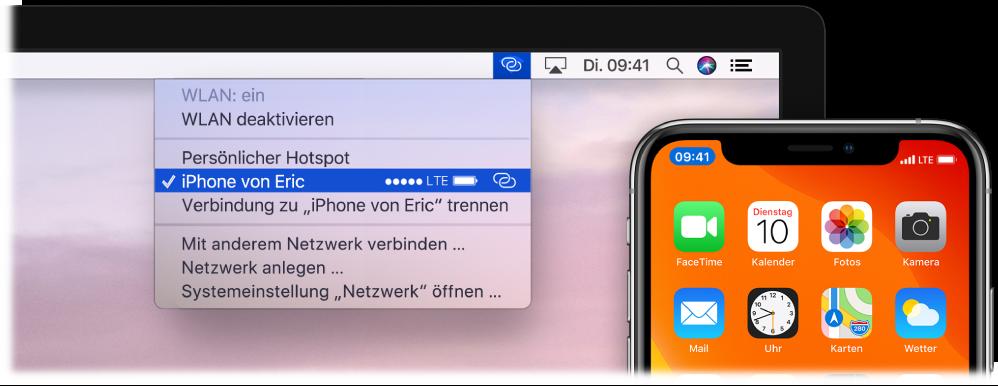 Der Mac-Bildschirm mit dem WLAN-Menü, in dem ein mit dem iPhone verbundener persönlicher Hotspot zu sehen ist