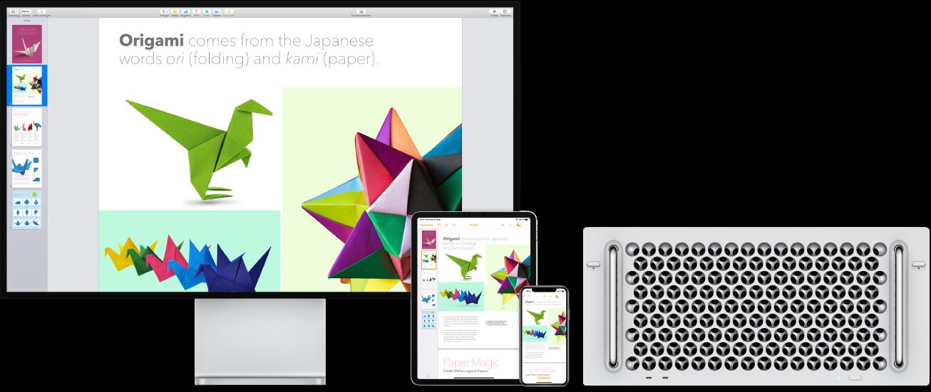 Auf einem iPad, iPhone und MacPro wird der identische Inhalt angezeigt.