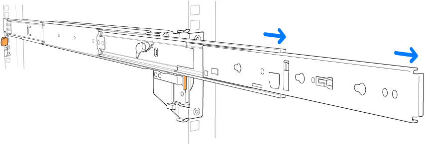 An extended rail assembly.