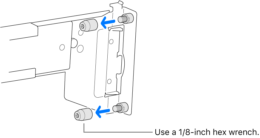 A rail assembly that fits into a round hole rack.
