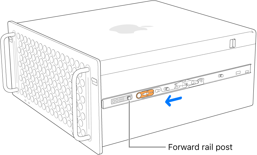 Mac Pro with a rail sliding forward and locking into place.