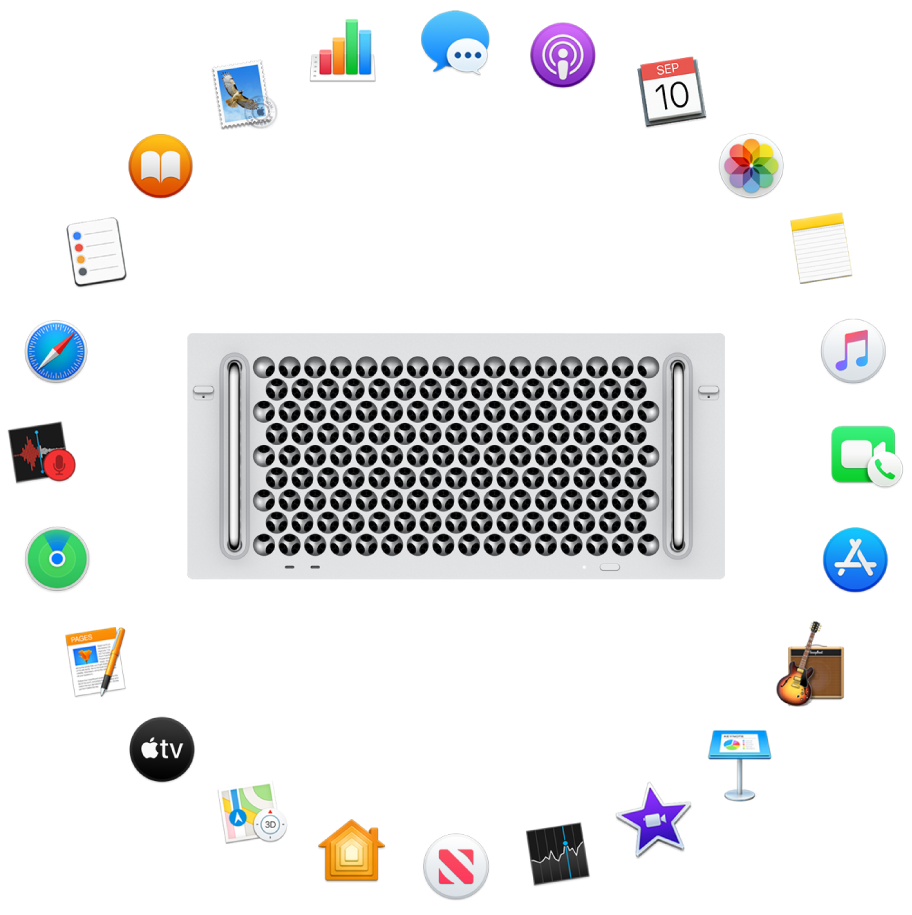 A Mac Pro surrounded by the icons for the built-in apps described in the following sections.