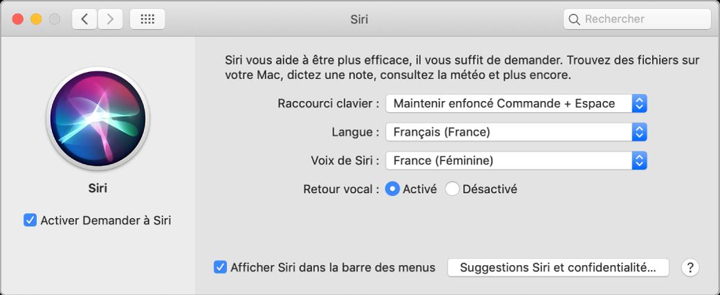 La fenêtre des préférences Siri, avec l'option Activer Demander à Siri sélectionnée à gauche et plusieurs options pour personnaliser Siri à droite.