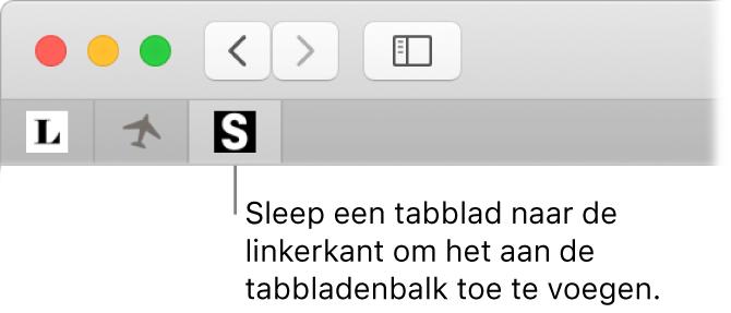 Een Safari-venster waarin wordt aangegeven hoe je een tabblad vastzet in de tabbladbalk.
