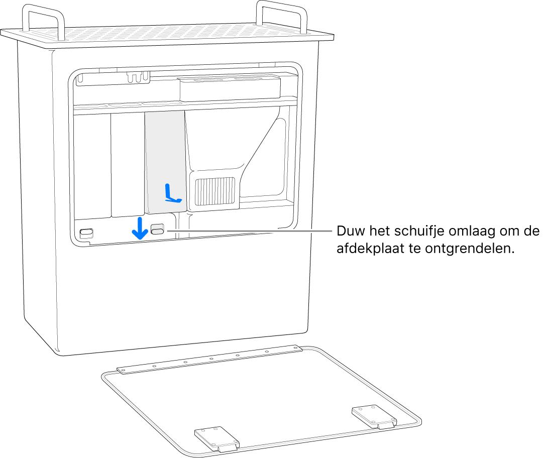 Een MacPro op zijn kant, met het schuifje dat de DIMM-afdekking ontgrendelt.