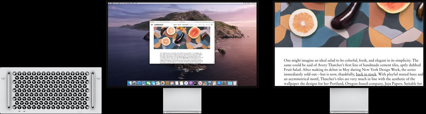 Zoomskjerm er aktivert på den sekundære skjermen, mens skjermstørrelsen forblir normal på venstre skjerm.