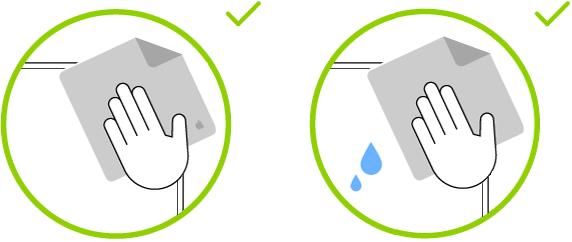 To bilder som viser de to klutene som kan brukes til å rengjøre en skjerm med standardglass.