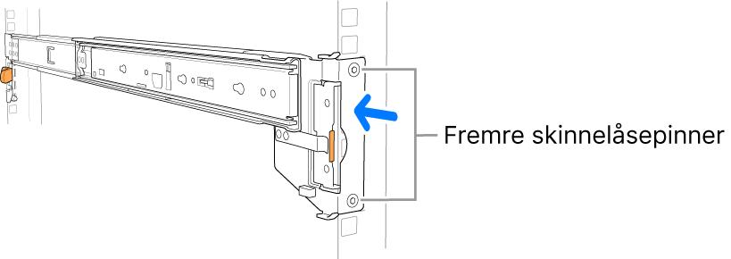 Skinner der plasseringen av de fremre skinnepinnene vises.