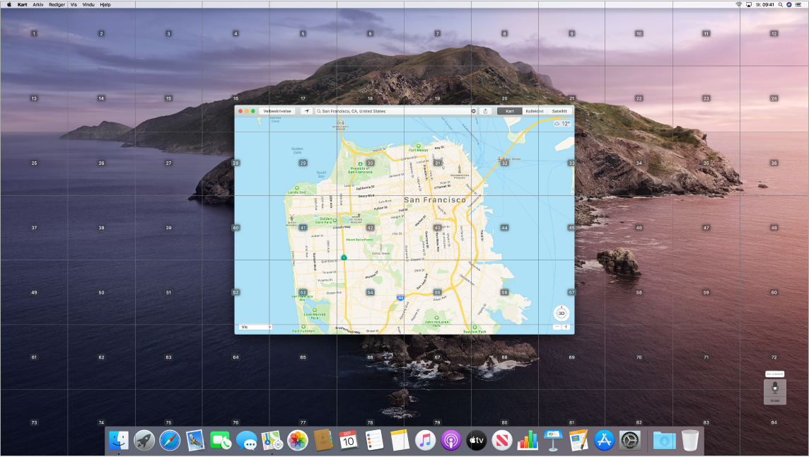Kart åpnes på Skrivebordet med et rutenettoverlegg.