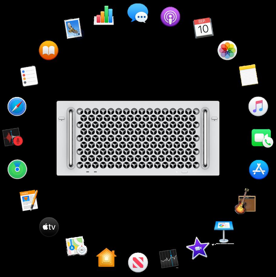 En MacPro omgitt av symbolene for programmene som følger med, og som beskrives i de neste delene.