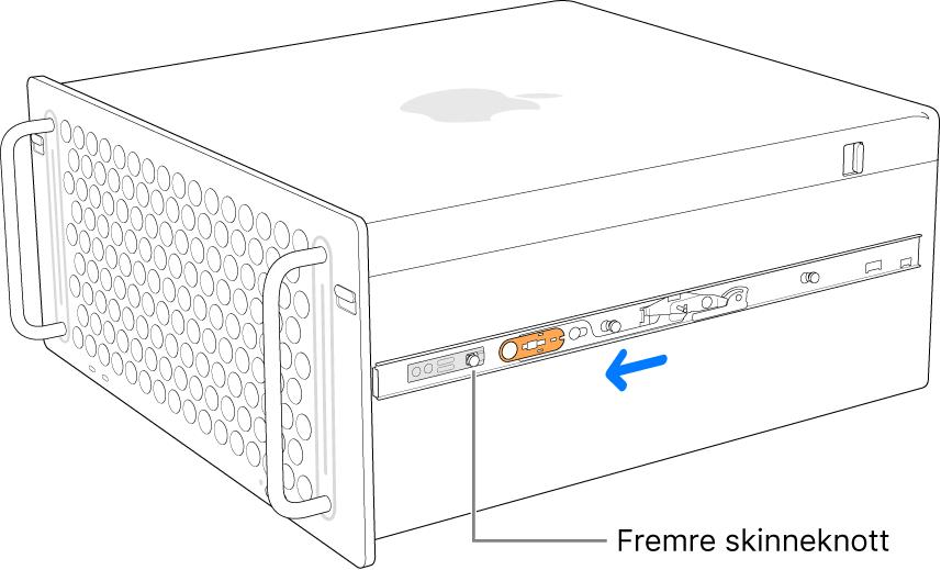 MacPro med en skinne som skyves fremover og låses på plass.