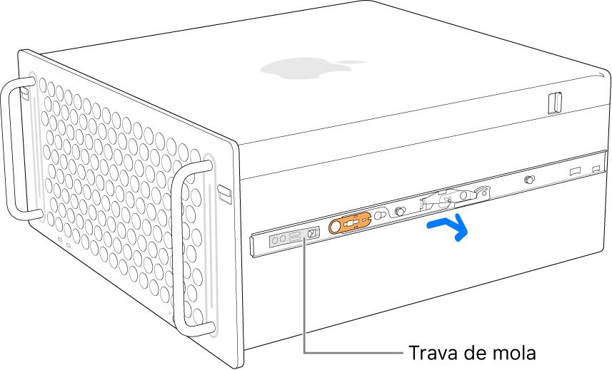 Um trilho sendo desprendido da lateral do Mac Pro.
