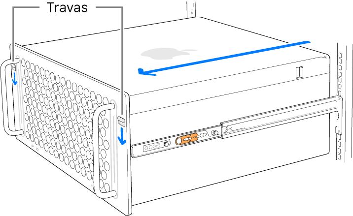 Mac Pro sobre trilhos fixados em um rack.