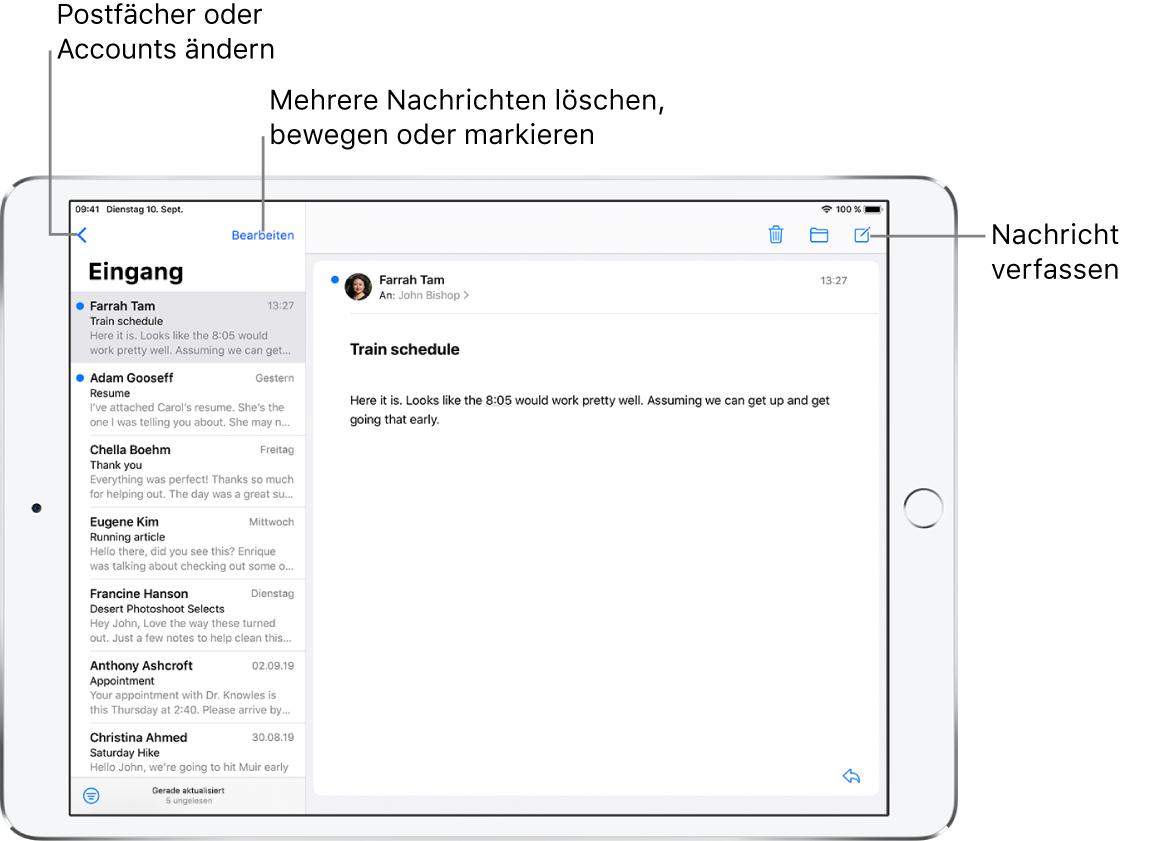 """Der Posteingang der App """"Mail"""" mit einer E-Mail-Liste auf der linken Seite und einer geöffneten E-Mail-Konversation auf der rechten Seite. In der Ecke oben links befindet sich die Taste """"Postfächer"""" für den Wechsel zu einem anderen Postfach. In der Ecke unten links befindet sich die Taste zum Filtern von E-Mails, sodass nur bestimmte E-Mails angezeigt werden. In der Ecke oben rechts befindet sich die Taste zum Erstellen einer neuen E-Mail."""