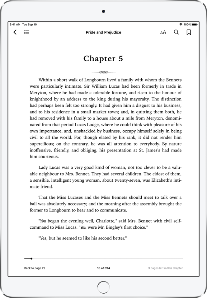 The page of a book open in the Books app showing the navigation controls at the top of the screen, from left to right, for close a book, table of contents, the appearance menu, search, and bookmark.