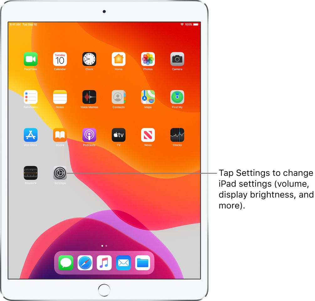 The iPad Home screen with several icons, including the Settings icon, which you can tap to change your iPad sound volume, screen brightness, and more.
