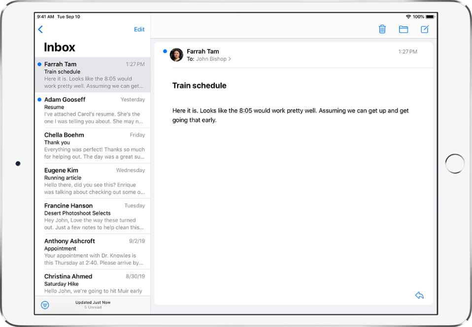 A preview of an email in the Inbox showing the sender's name, the day the email was sent, the subject line, and the first two lines of the email.