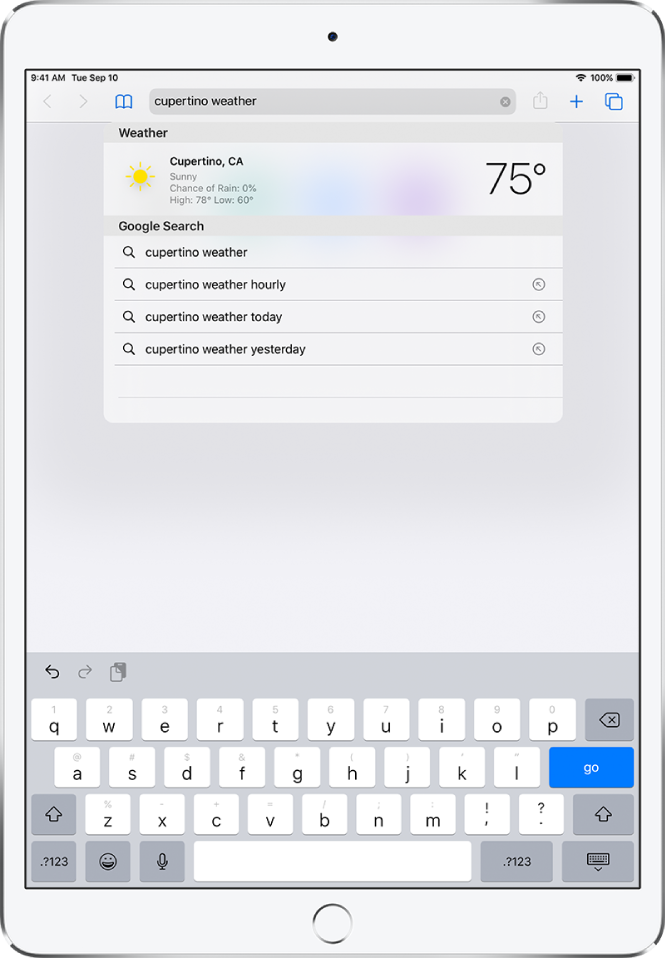 """At the top of the screen is the Safari search field, containing the text """"cupertino weather."""" Below the search field is a result showing the current weather and temperature for Cupertino. Below that are Google Search results, including """"cupertino weather,"""" """"cupertino weather hourly,"""" """"cupertino weather yesterday,"""" and """"cupertino weather year round."""" On the right side of each result is a blue arrow to link to the specific search result page."""