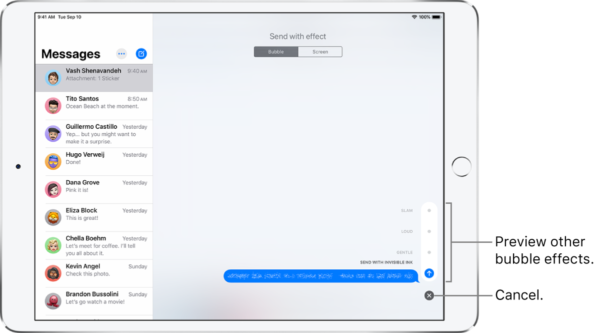 A message preview with the invisible ink effect. At the lower right, tap a control to preview other bubble effects. Tap the same control again to send, or tap the Cancel button below to return to your message.