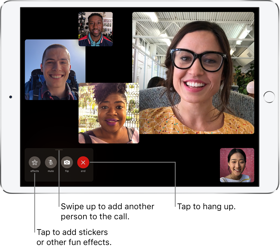 A Group FaceTime call with five participants, including the originator. Each participant appears in a separate tile, with larger tiles indicating the more active participants.