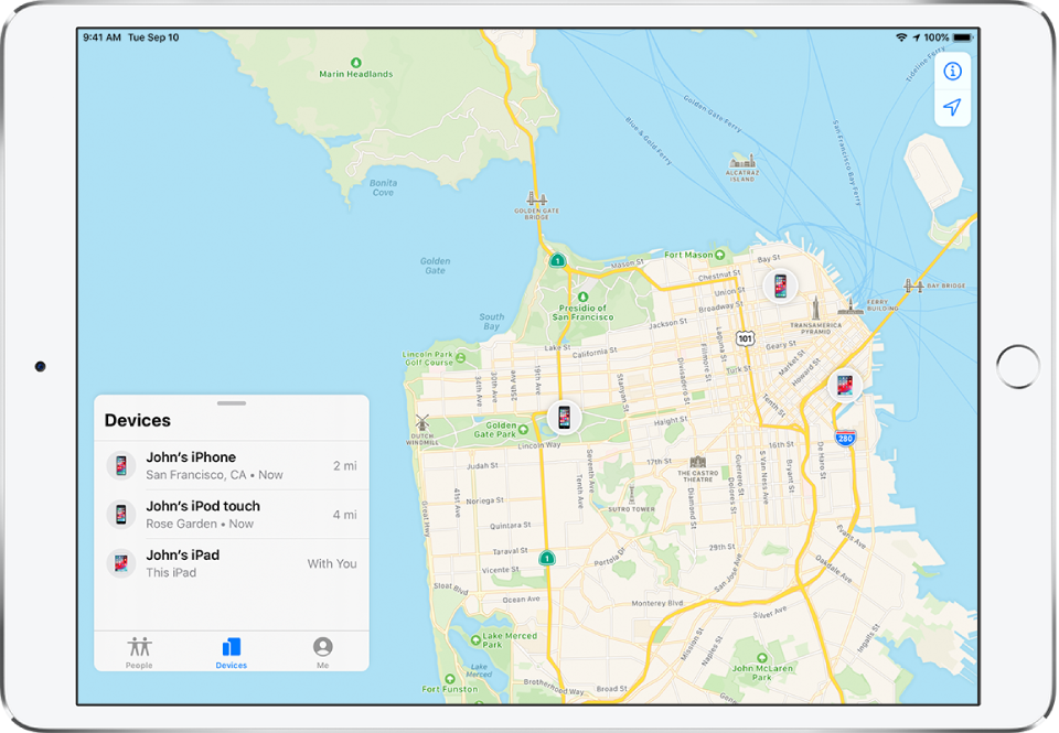 There are three devices in the Devices list: John's iPhone, John's iPod touch, and John's iPad. Their locations are shown on a map of San Francisco.