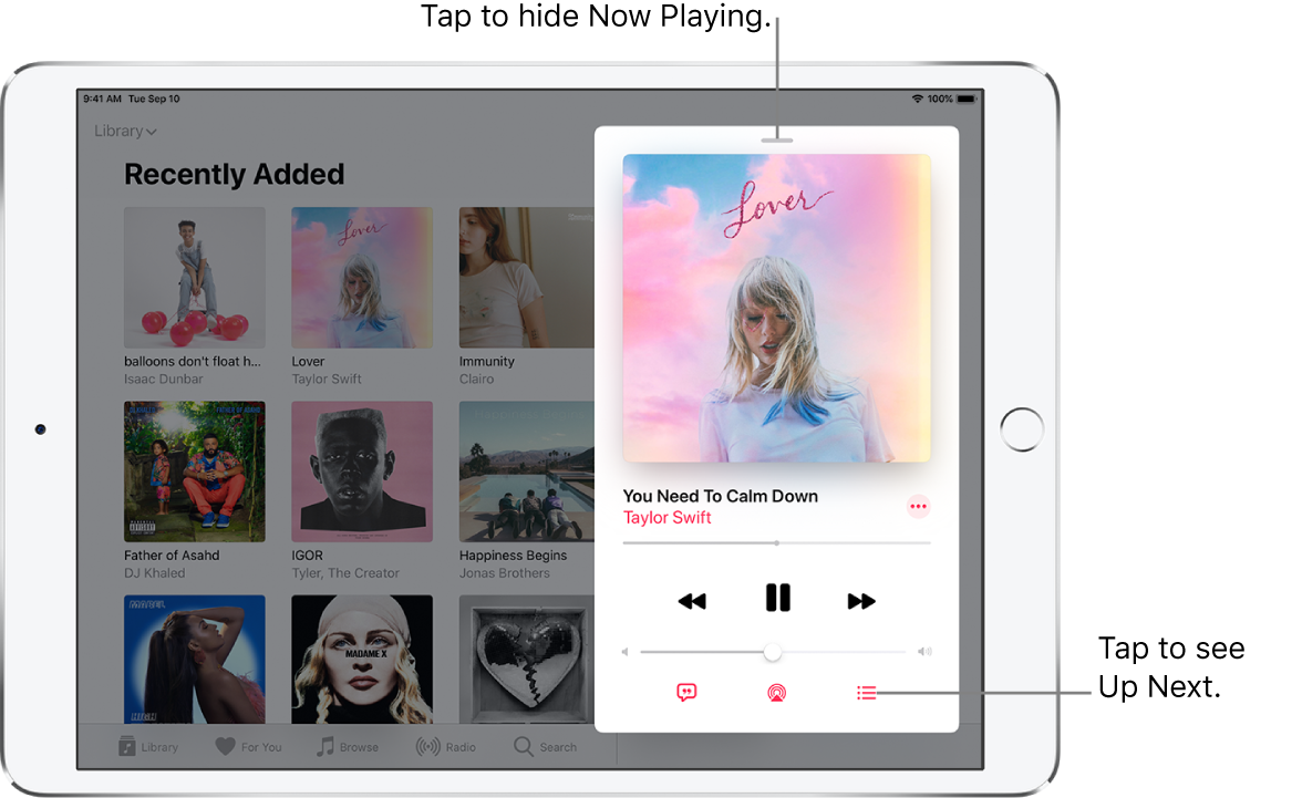 The Now Playing screen showing the album art. Below are the song title, artist name, More button, playhead, play controls, Volume slider, Lyrics button, Playback Destination button, and Up Next button. The Hide Now Playing button is at the top.