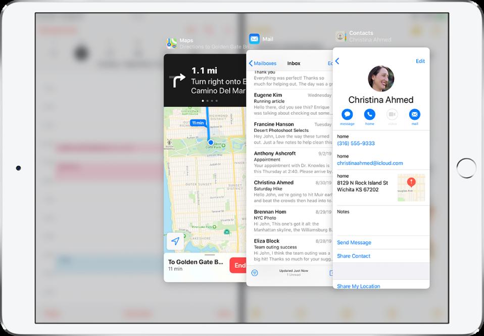 Three apps open in Slide Over windows.
