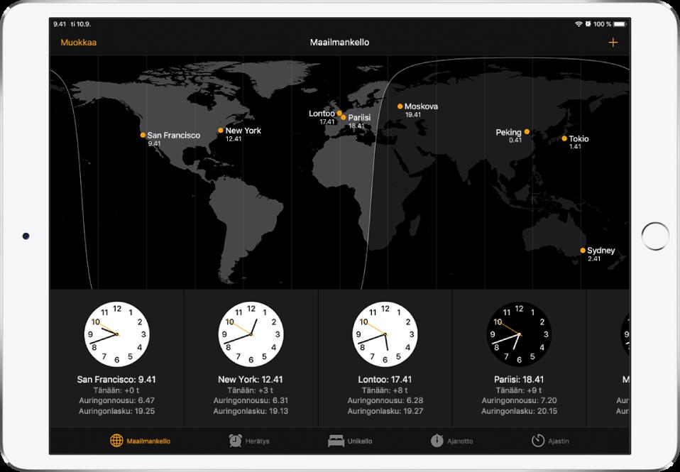 Maailmankello-välilehti, jossa näkyy aika useissa kaupungeissa. Järjestä kelloja napauttamalla vasemmassa yläkulmassa Muokkaa. Lisää kohteita napauttamalla oikeassa yläkulmassa olevaa lisäyspainiketta. Alareunassa ovat Herätys-, Unikello-, Ajanotto- ja Ajastin-painikkeet.