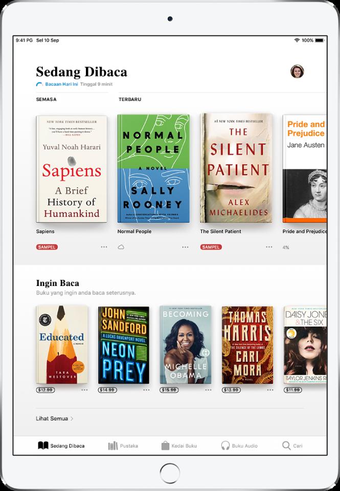 Skrin dalam app Buku. Di bahagian bawah skrin ialah, dari kiri ke kanan, tab Sedang Dibaca, Pustaka, Kedai Buku, Buku Audio dan Cari—tab Sedang Dibaca dipilih. Di bahagian atas skrin ialah bahagian Sedang Dibaca, yang menunjukkan buku yang sedang dibaca. Di bawah ialah bahagian Ingin Baca, yang menunjukkan buku yang anda mahu baca.