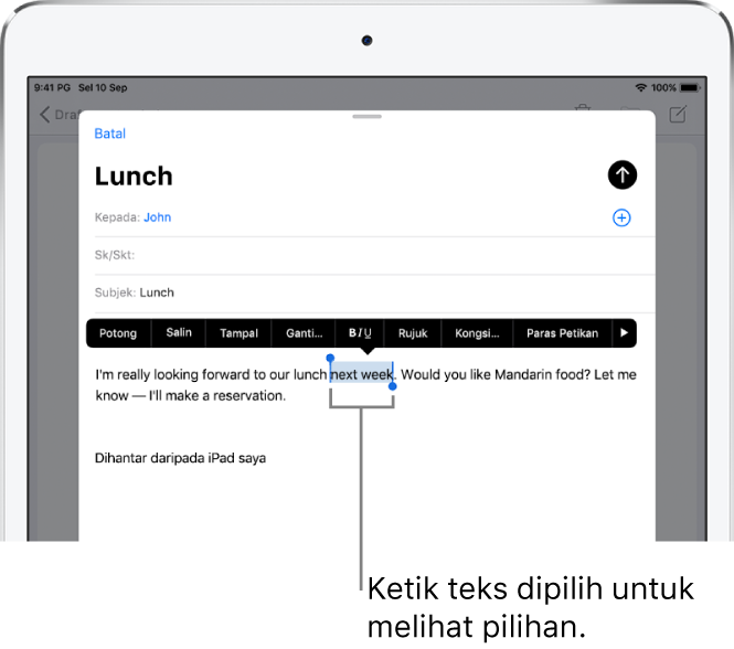 Mesej e-mel sampel dengan beberapa teks dipilih. Di atas pilihan ialah butang Potong, Salin, Tampal dan Ganti. Teks dipilih diserlahkan.