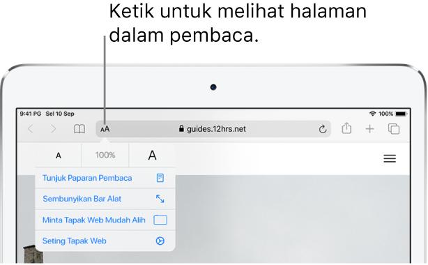 Bar alat Safari, dengan butang Pembaca di sebelah kiri medan alamat.