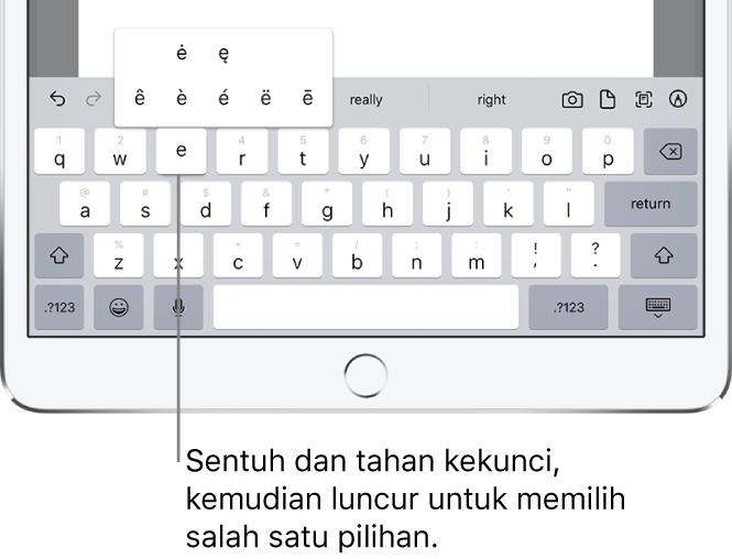 "Skrin menunjukkan aksara alternatif untuk kekunci ""e""."