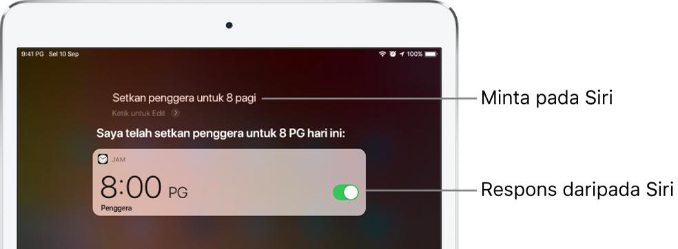"""Skrin Siri menunjukkan bahawa Siri diminta untuk """"Setkan penggera pada 8 pagi,"""" dan sebagai respons, Siri membalas """"Penggera disetkan kepada 8 PG"""". Pemberitahuan daripada app Jam menunjukkan penggera disetkan pada jam 8:00 pg."""