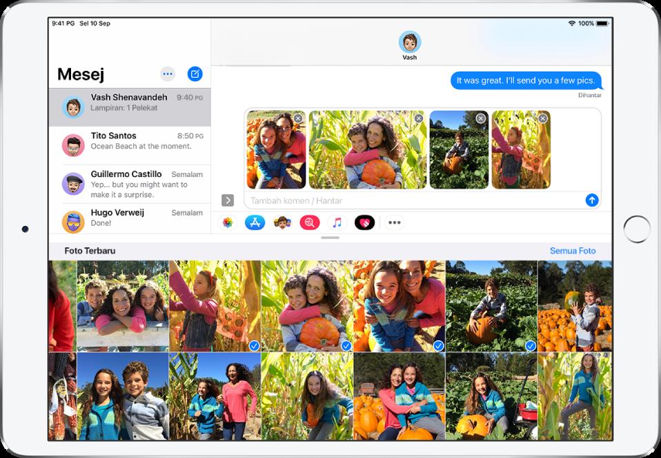 Tetingkap Mesej dengan app iMessage Foto ditindan di atas mesej. Di bahagian atas tindanan ialah butang untuk melayari foto.