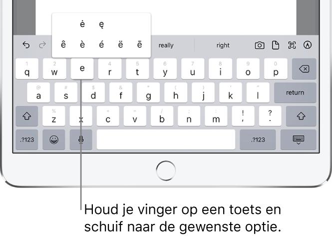 """Een scherm met alternatieve tekens voor de toets """"e""""."""