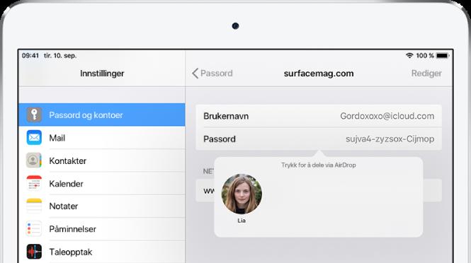 Passord og kontoer-skjermen for et nettsted. En knapp under passordfeltet viser et bilde av Lia under instruksjonen «Trykk for å dele via AirDrop».